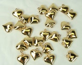 Puffy Heart Charms 25 pieces Hearts Puffed 12x11mm Gold Plated Scrapbooking Jewelry & Beading Heart Charms