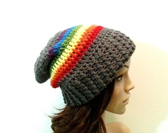 Everyday Slouch Hat - Rainbow Gray Clouds- made to order