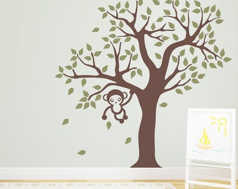 7 Foot Cute Monkey Tree Vinyl Wall Decal