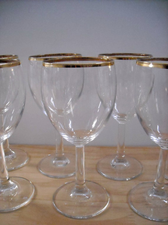 8 Gold Rimmed Wine Glasses Eight Gold Band Goblets