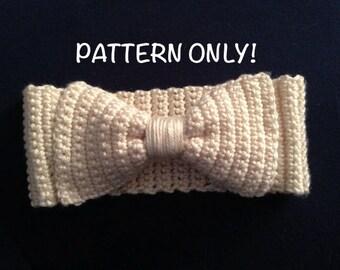 Bow Headband/Earwarmers Crochet PATTERN