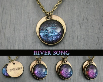 "River Song Inspired ""Spoilers"" Antique Bronze Necklace"