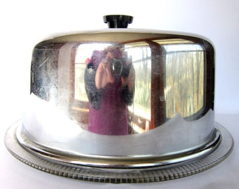 Mid-Century Chrome Cake Saver with Glass Plate, Cake Keeper Dome Crystal