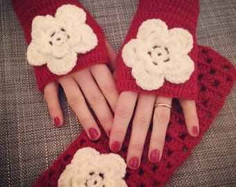 Gloves and Headband, Gloves, Hair Accessories, women gifts, Red Gloves, mittens, armwarmes, winter accessories, gift ideas, winter fashion
