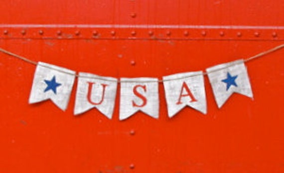 4th of July burlap banner - USA burlap banner - Memorial day -Shabby Chic - Patriotic banner with stars  - Photography prop
