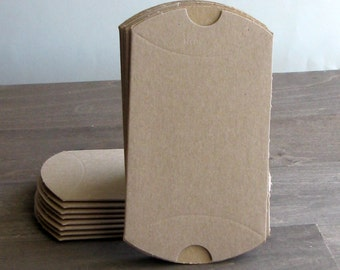 10 small brown kraft pillow boxes - 3 1/2 x 3 x 1 inch - favor packaging - wedding favor boxes - small favor box