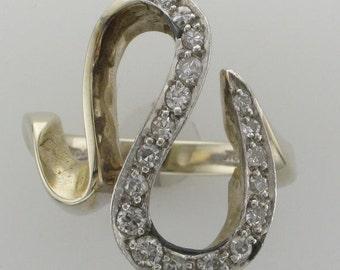 Platinum over 18 Karat White Gold Diamond Swirl Ring