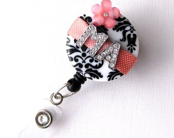 Coral Blossom MA - Bling Badge Reel - Unique ID Badge Holders - Stylish Badge Clip - Personalized Nurse Jewelry - BadgeBlooms
