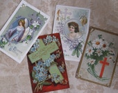 4 Antique Easter Postcards - Religious Designs - Edwardian Paper Ephemera - 1910 - Vintage Supplies