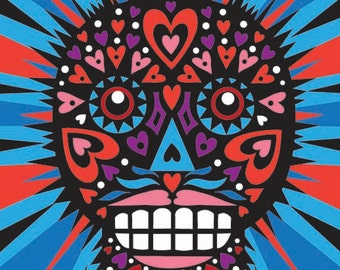 Sugar Skull with heart, Day of the Dead print