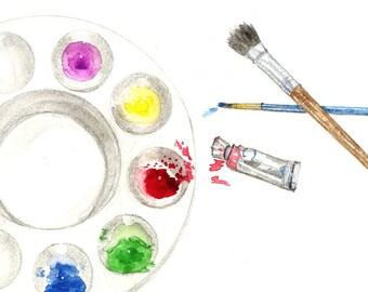 Paint and Brushes Watercolor Print, Artist Tools, Painters Palette Original Painting, Paintbrush Home Decor, Art Supplies