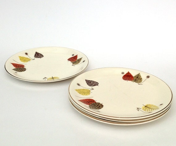 Vintage Alfred Meakin classic mid-century design 4 side plates and 3 saucers