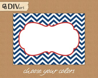 PRINTABLE chevron tags 3.5x2.25in - CHOOSE your colors -  gift tags, holiday gift tags, stickers, food labels, place cards - 105