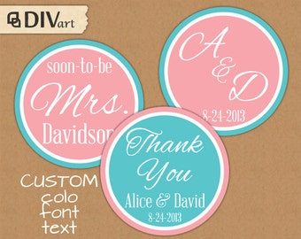 """PRINTABLE 2"""" Wedding Favor Tags, Bridal Shower Tags, Thank You Tags, Party Tags, Party Picks, Cupcake toppers - 254"""