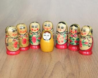 Vintage Wooden Doll Matryoshka, Russian Matryoshka, 8 Small Dolls, Collectibles Gift, Home Decor