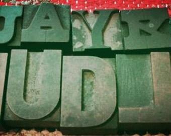 Ten Vintage Wood Printers Block Letters