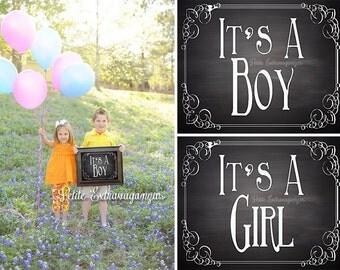 Gender Reveal Chalkboard Sign - Printable Digital File