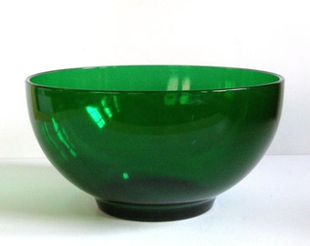 Lg EMERALD GrEEN GLASS BOWL 10in Mid Century Modern Kitchen Retro Excellent Condition Anchor Hocking Salad Serving Heavy Vintage