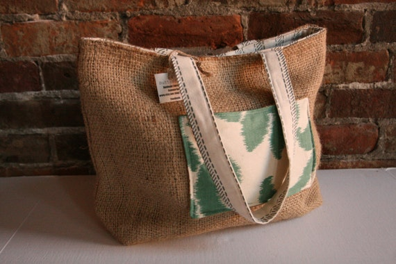 "Upcycled Coffee Bag Burlap Tote (Small) ""Organic""  Teal Cross Hatch Stripes and Ikat Print"