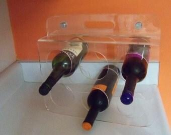 Mad Men Retro 1970 Eames Era Mod Acrylic Six Hole Wine Rack Bar Home Decor Holder