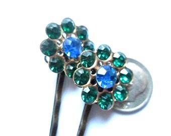 Hair Pins Blue and Green Rhinestone Hair Jewelry Bobby Pins Vintage
