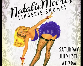 Vintage Pin Up Girl  Invitation- Bachelorette party, Hens night, Lingerie Shower burlesque invite diy print file PRINTED OPTIONAL