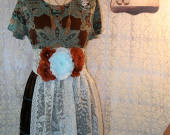 Upcycled Plus Size Tattered Country Shabby Chic Dress Boho Chic Gypsy Ranch Dress Bohemian Dress Paisley