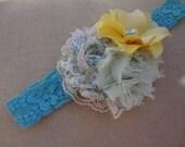 Baby Headbands- Baby Girl Headbands- Teal Shabby Chic Headband- Baby Girl- Birthday Headband-Country Chic-Photo Prop