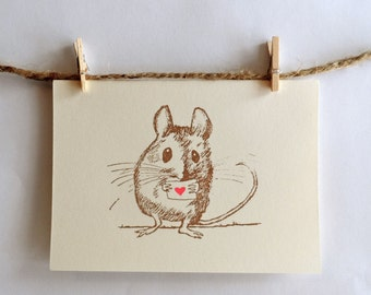 Tiny Field Mouse-sends a Love Heart