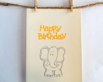 Elephant Birthday Card- Yellow Happy Birthday with Silver Elephant