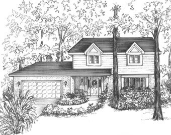 "Your house drawn in ink - 11"" x 14"" matted to16"" x 20""black and white architectural sketch Home portraits in pen and ink House portrait"
