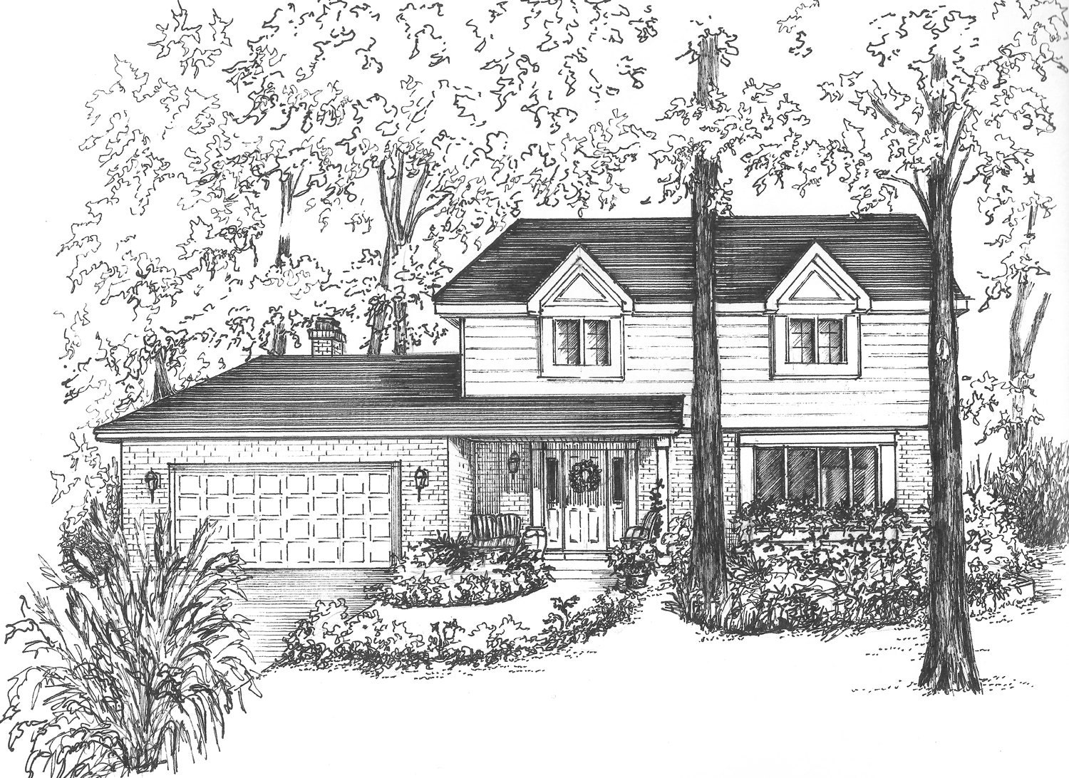 Line Drawing Of Your House : Your house drawn in ink matted