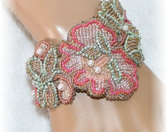 XL Beaded Bracelet - Pale Pink and Green Pearls and Beads On Lace