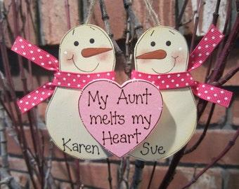 Personalized Snowmen Couple Ornament - My Aunt melts my Heart