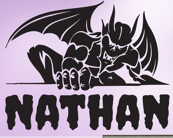 Gargoyle Gothic Decor Vinyl Wall Decal with Custom Name, For the Gamer, the Skater or the Rocker, Home Decor 616TT
