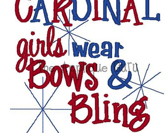 Cardinal Girls Wear Bows & Bling -- Machine Embroidery Design
