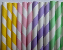 50 Pastel Mix Easter Party Paper Straws- Mixed Pastel Pink, Yellow, Purple and Green Stripped Straw- Easter Decor, Baby Shower Decorations