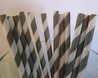 25 Light Grey Strip Paper Straws-  Food Safe, Biodegradeable, Soy Based Ink- Baby Shower Decorations