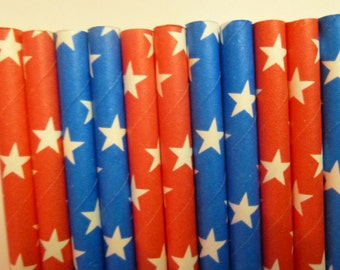 50 Red and Blue With White Star- Patriotic Party Paper Straws- Red, White and Blue Stars-Memorial Day, Fourth of July Party