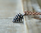 Copper Pine Cone Necklace / Tiny Woodland Pendant in Antiqued Copper with Chain