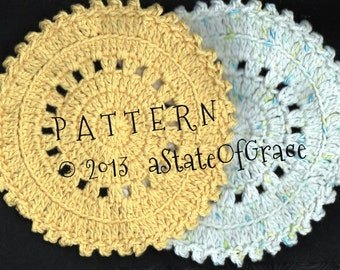 Dishcloth PATTERN #2, Washcloth, Coaster, Doily, Hotpad, Crochet, INSTANT DOWNLOAD