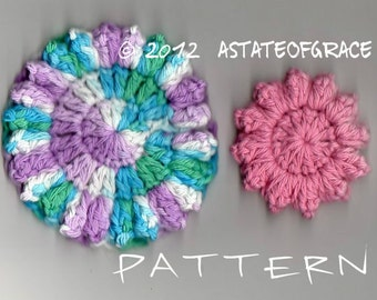 Facial Scrubbie PATTERN, 2 sizes, Crochet, Cluster Stitch Flower, INSTANT DOWNLOAD