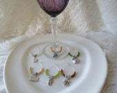 Set of 6 Wine Themed Stemware Hoops