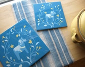 Turquoise Dala Horse and Floral Wreath Printed Tile Trivet 6x6