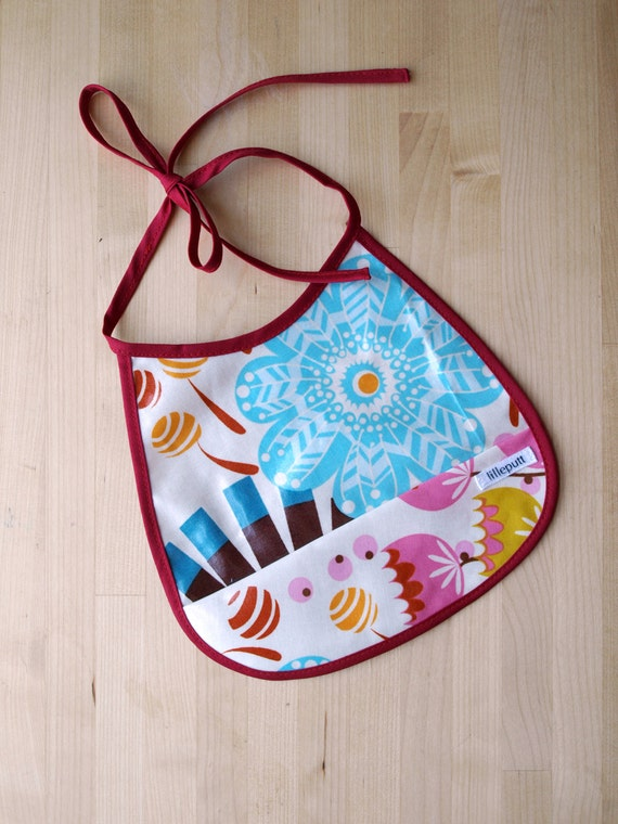 Colorful Summer Floral Oilcloth Bib with Pocket