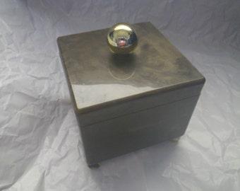 Vintage Glamorous Crossman Lucite Box in Chocolate Brown Trinket or Vanity Box Jewelry Box