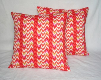 Pink and Orange Chevron Pillow Covers (Set of Two)