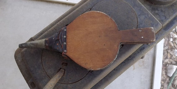 Vintage Antique Fireplace Bellows Blower Leather Wood