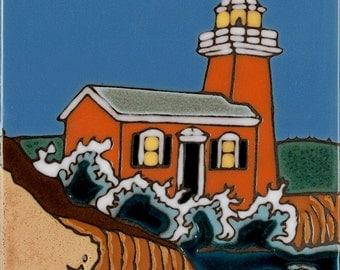 Ceramic Tile Lighthouse Santa Cruz Hand Painted Original