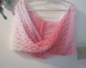 Ariel Lace Hot Pink Knit Shrug, Cowl, Snood, Shawl, Cape, Scarf, Infiniti Scarf, Circle, Snood, Handmade Scarves, Wrap, Moebius, XL/XXXL